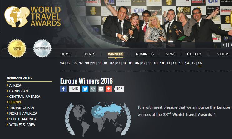 World Travel Awards 2016 Európa TOP